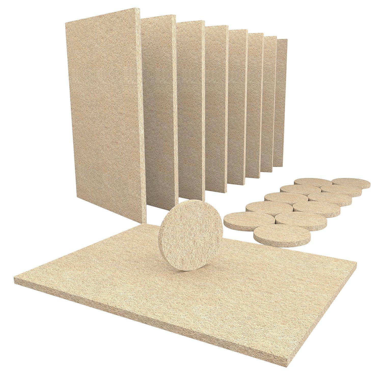 NOCM-8 Large Self Stick Furniture Felt Sheets 12 Round Felt Pads To Protect Hardwood Floors&Furniture