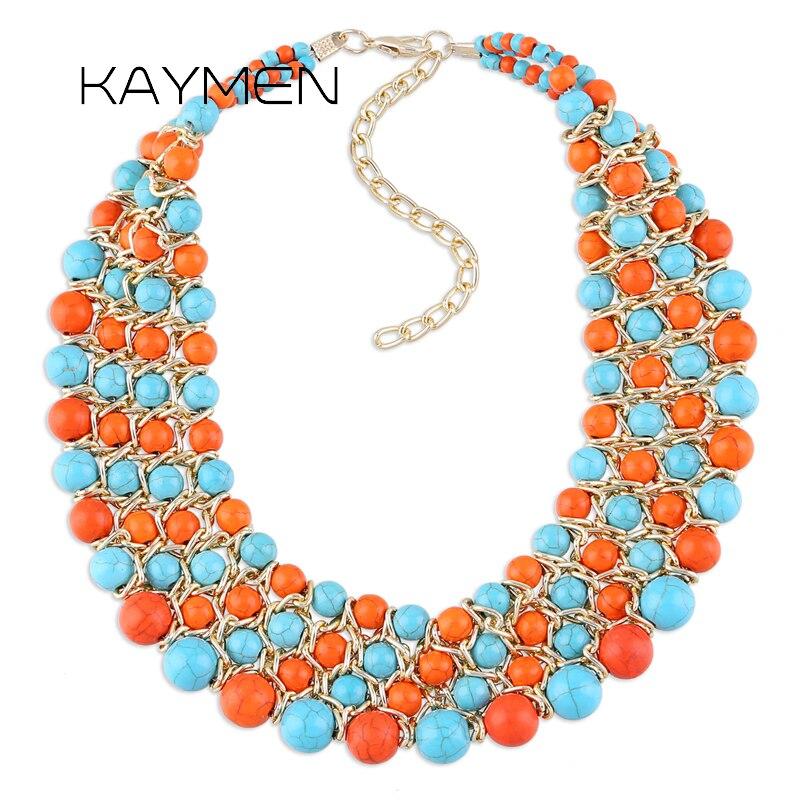 Kaymen joyería de moda nueva imitación Kallaite piedra Stands tejido declaración Collar para mujeres joyería de fiesta 3 colores NK-01355