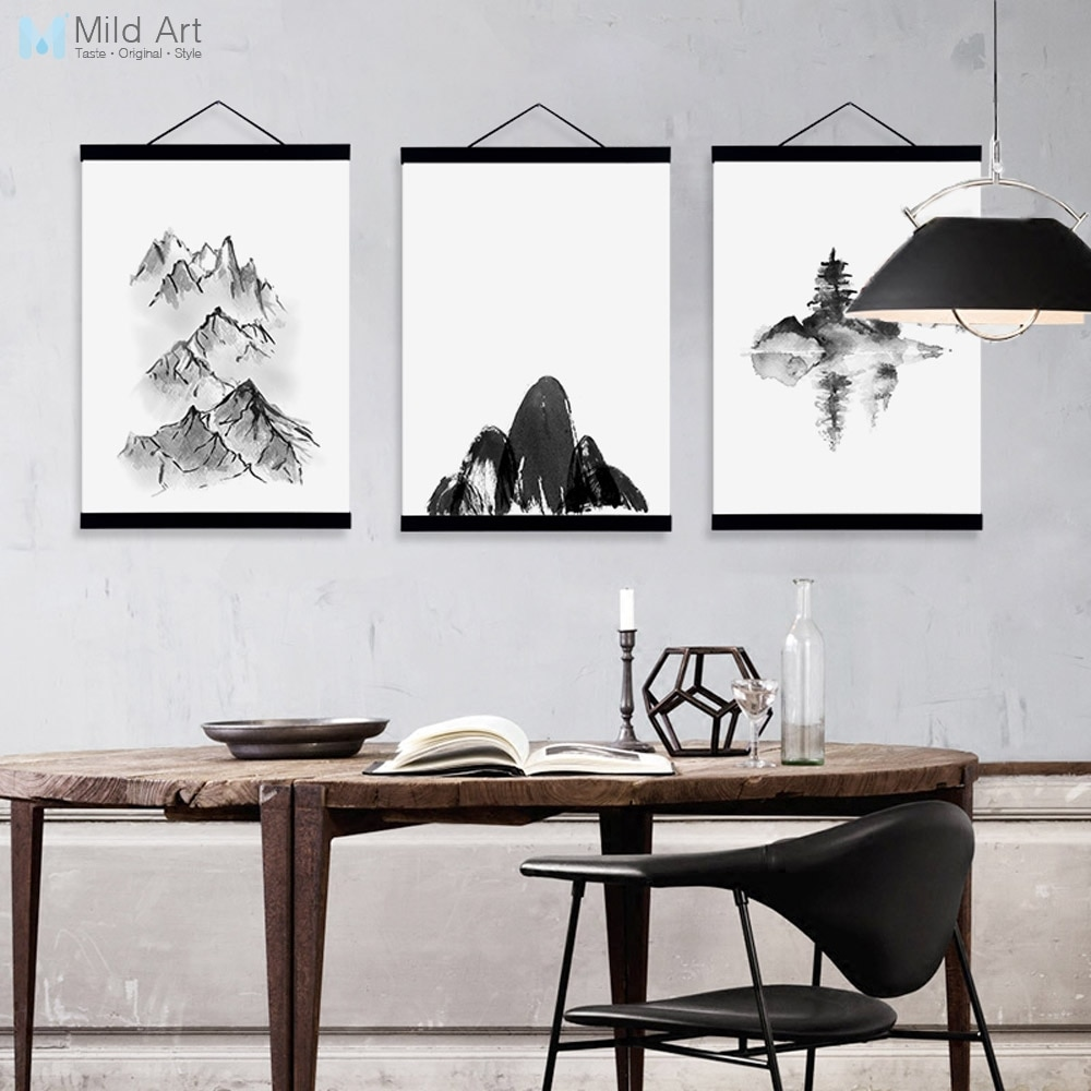 Negro Blanco tinta china paisaje de montaña sala de estar de madera enmarcada lienzo pintura hogar Decoración de pared imágenes artísticas carteles rollo
