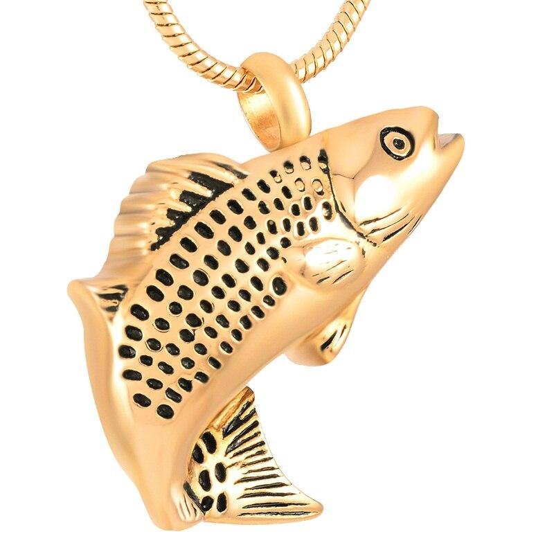 IJD9236 cremación de acero inoxidable creativo mujeres hombres recuerdo urnas de pescado Collar para urna de ceniza colgante joyería
