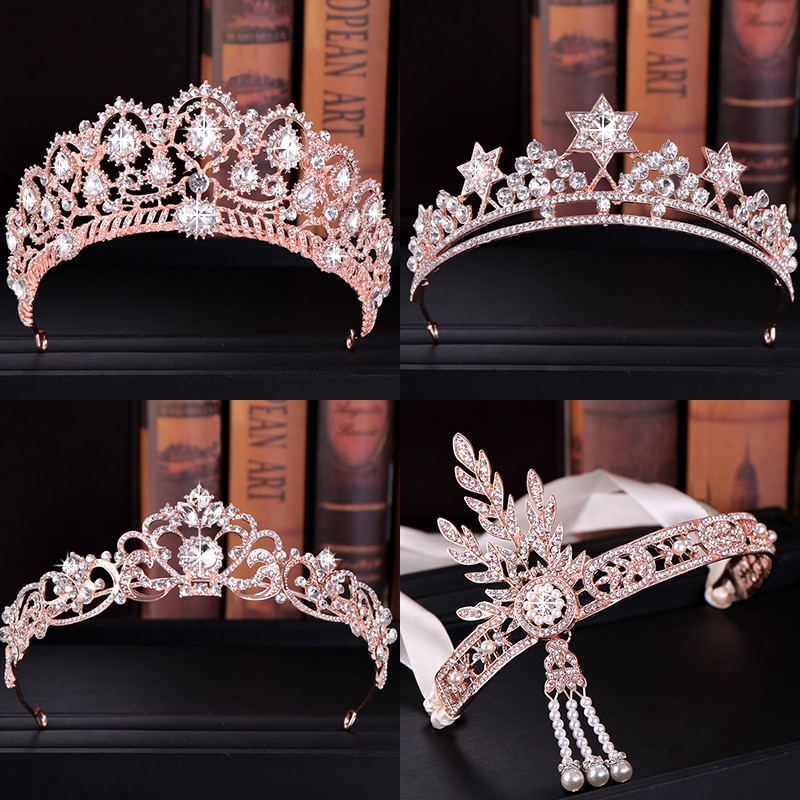 Luxo rosa de ouro tiaras e coroas para as mulheres pérolas de cristal jóias de cabelo rainha diadems nupcial headbands casamento acessórios de cabelo