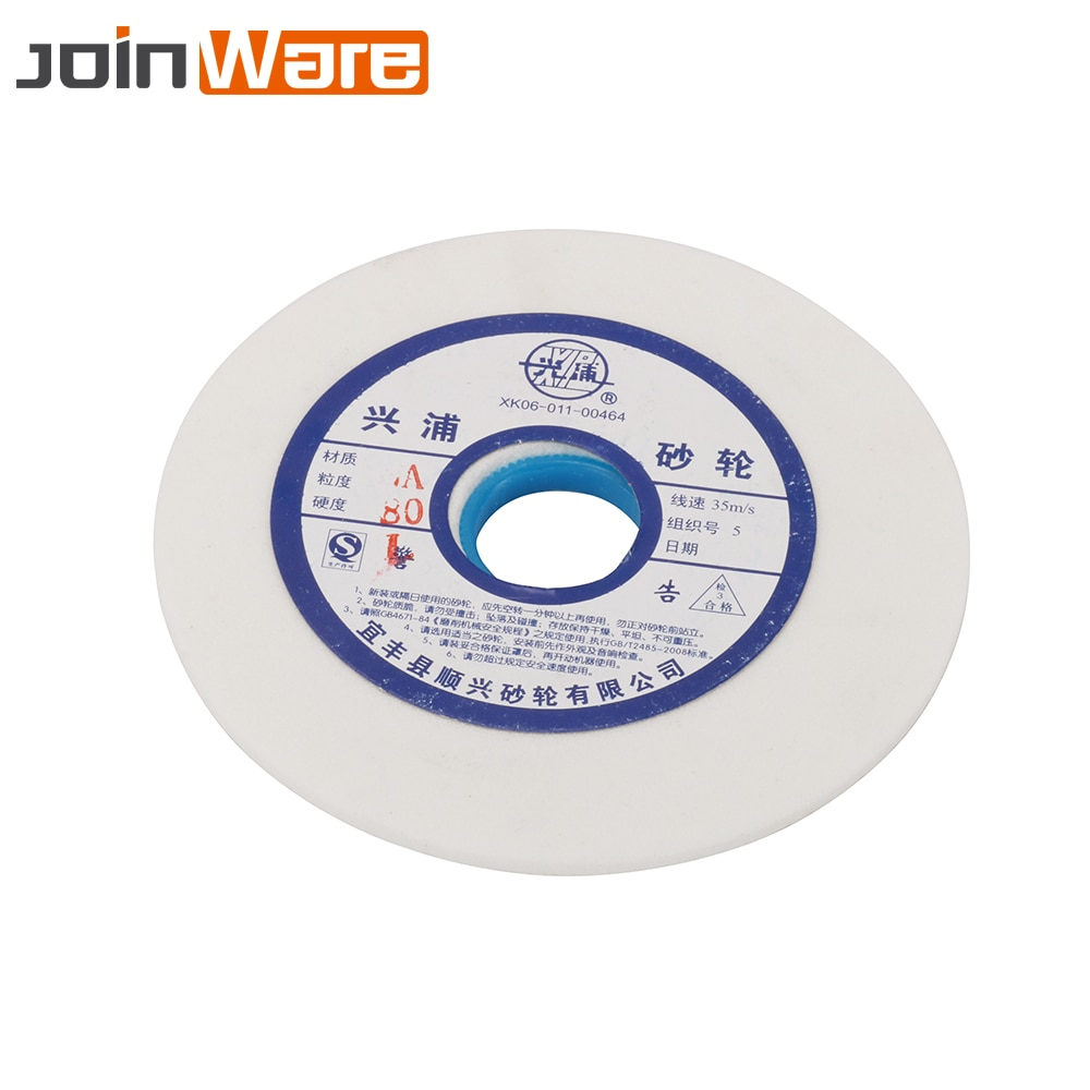 150mm White Corundum Ceramics Grinding Wheel 46 60 80# For Metalworking HSS High Carbon Steel 32mm Aperture 10mm Thickness