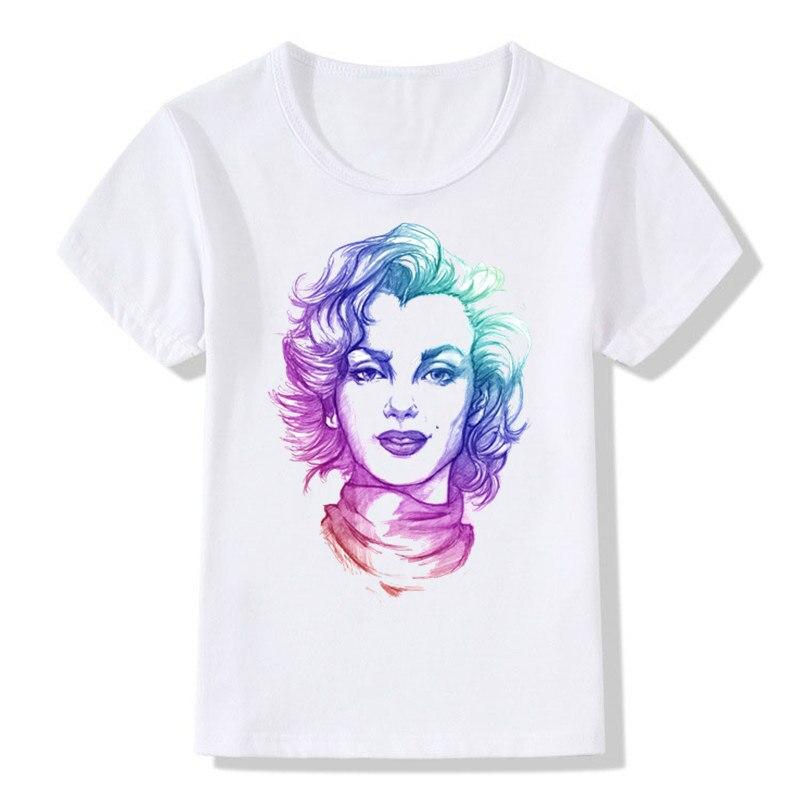 Menino e Menina Impressão Tatoo Marilyn Monroe Retro Sexy Moda T-shirt de mangas Curtas Crianças T Shirt Crianças Tops T Do Bebê roupas