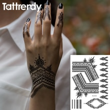 Beliebte Schwarz Henna-Tattoos Temporäre Wasserdicht Spitze Trendy Inspiriert Körper Tattoo Aufkleber Indische Hand Indische braut trible