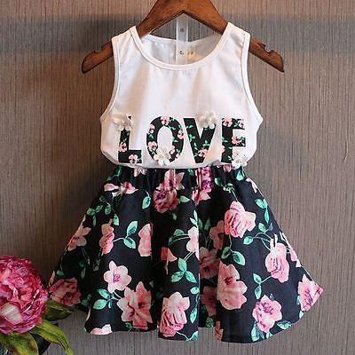 2016г. комплект-двойка для детей дошкольного возраста детская футболка для маленьких девочек комплект одежды: топ на бретелях и юбка одежда