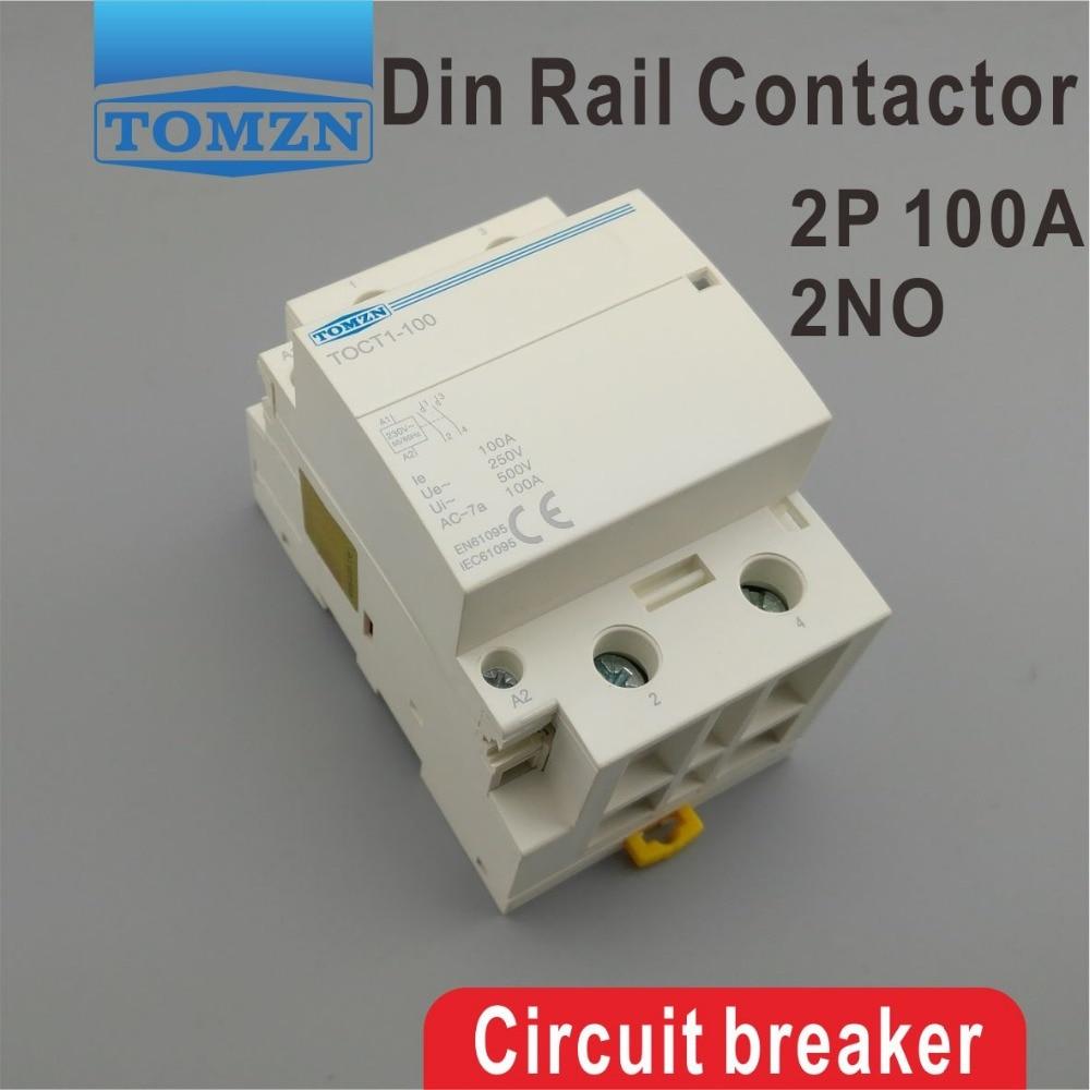 موصل معياري TOCT1 2P 100A 2NO 230V 50/60HZ للمنزل ، موصل معياري 2NO Din-rail