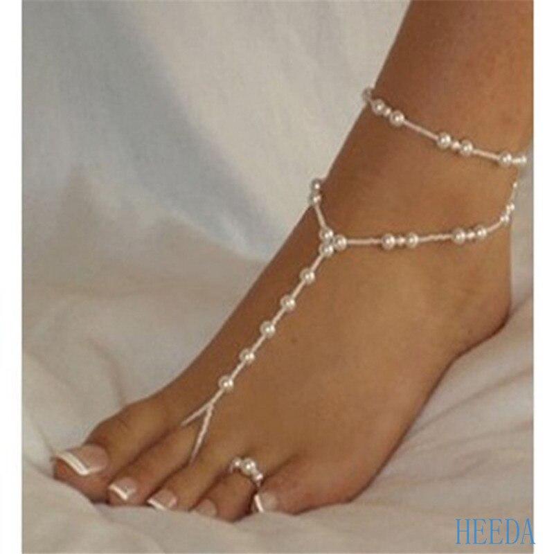 2018 estilo quente tornozeleiras moda simples dupla praia tornozeleiras graciosa pérola de duas peças pé anel e tornozeleiras conjunto para mulher