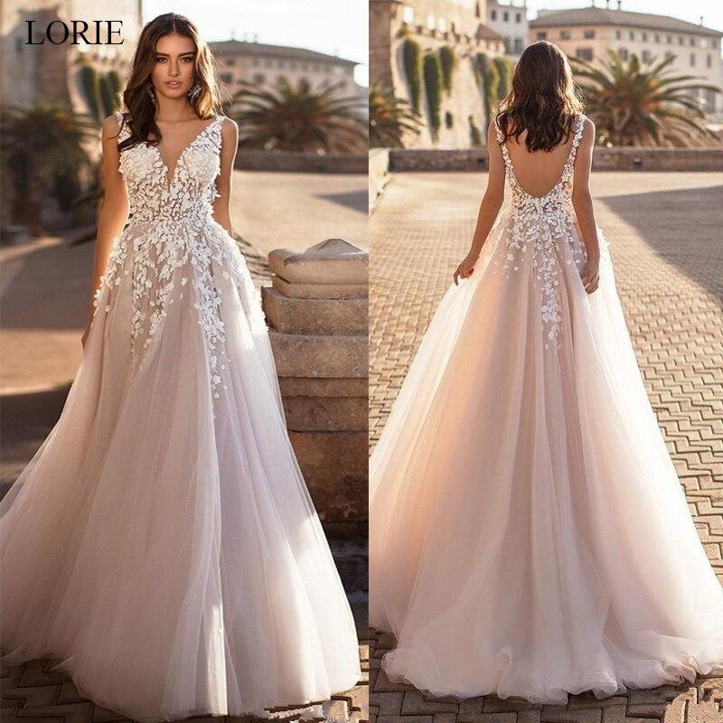 Изящные платья LORIE 2020 с треугольным вырезом, Пляжное свадебное платье с открытой спиной, 3D цветочной аппликацией, кружевные тюлевые свадебные платья, vestido de novia большого размера