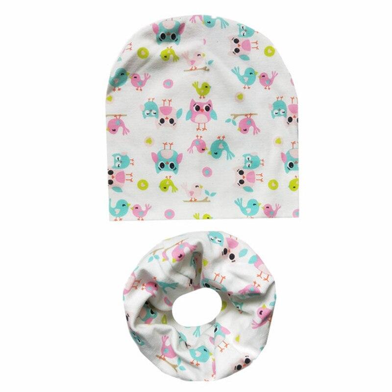 Cartoon Print Baby Cotton Hat Scarf Set Lovely Children's Caps Bibs Scarf Boys Girls Warm Beanie Col