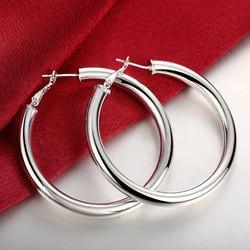 Brincos banhados à prata, acessórios para joias de casamento, brincos de prata lenta 5mm para mulheres