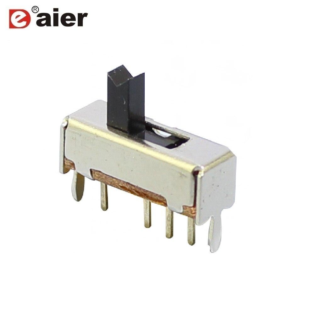 1000 pcs Elétrica 50mA 4 Pinos 1P3T Slide Slide Switch 5mm Altura Preto Punho SS-13D07 Mini Toggle Switches Com PCB Terminal de