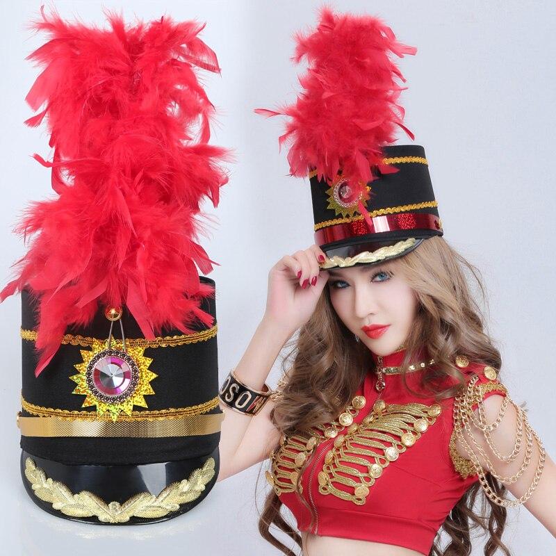 Nuevo guardia de Honor de baile de Jazz sombrero tambor de banda No oficial negro sombrero rojo sombrero de plumas