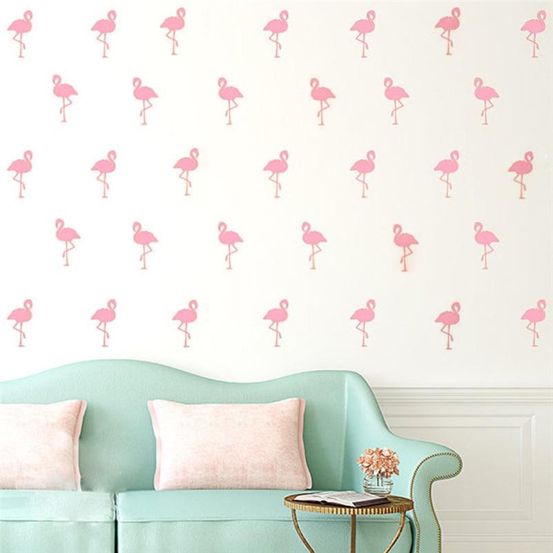 BalleenShiny 15pcs Mini 5*10cm Flamingo Wall Stickers Bird Decals For Kids Rooms DIY Art Vinyl New Design Home Decoration Supply