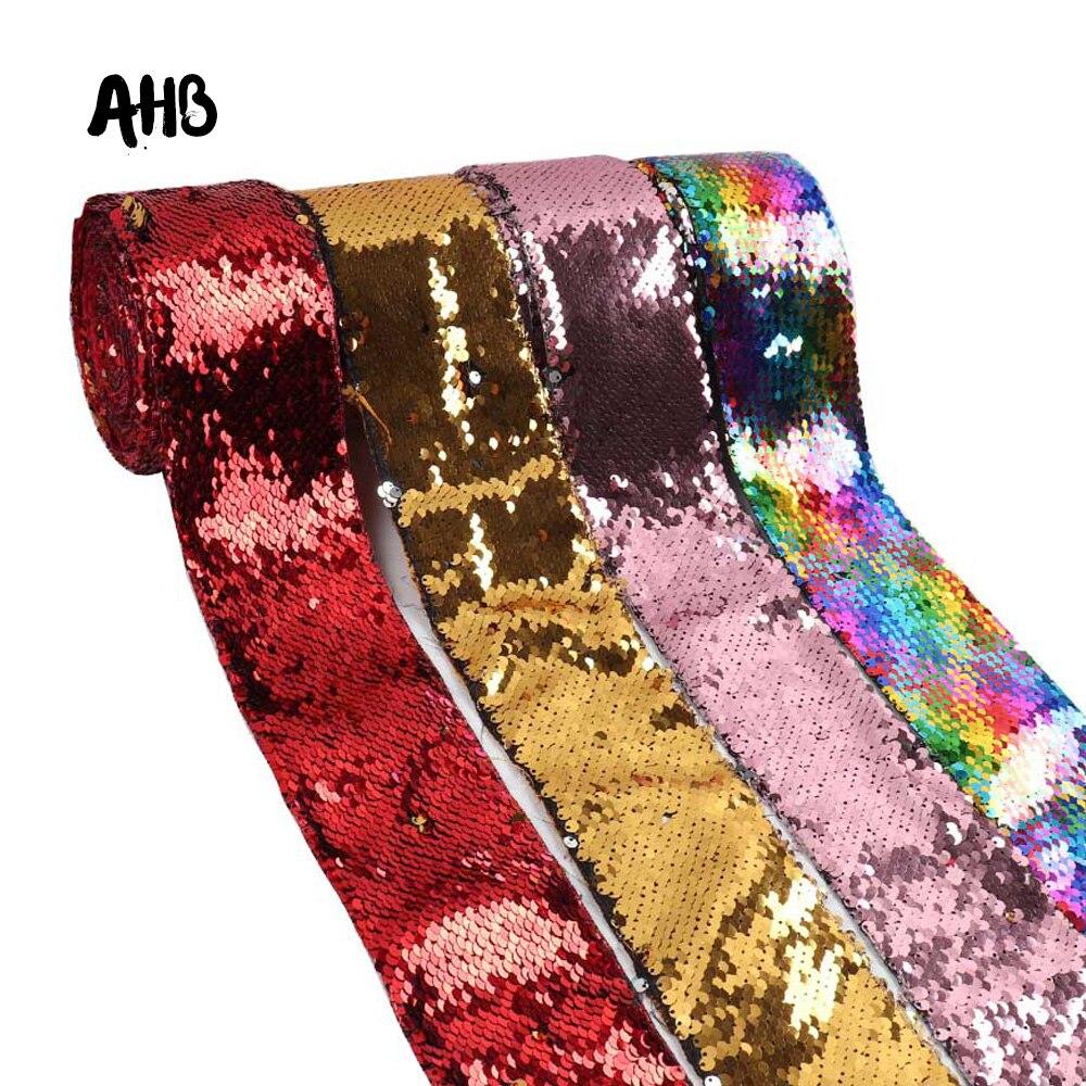 Cinta de lentejuelas Reversible colorida de 75mm de AHB, accesorios para el pelo DIY, decoración para fiesta de boda, materiales de decoración de vacaciones