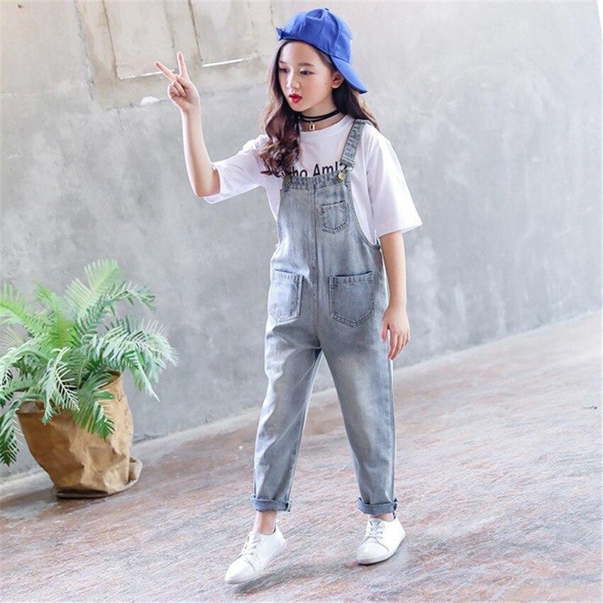 Conjunto de 4 5 6 7 8 9 años para Niñas Grandes, camisetas con estampado blanco + Mono vaquero, ropa elegante para niñas, ropa coreana para niños, chándal