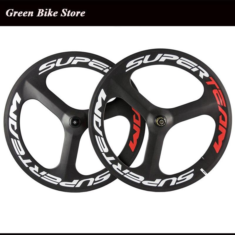 700C Full Carbon Tri radio de rueda de bicicleta rueda trasera delantera para carretera/engranaje fijo bicicleta carbono tres 3 radios rueda