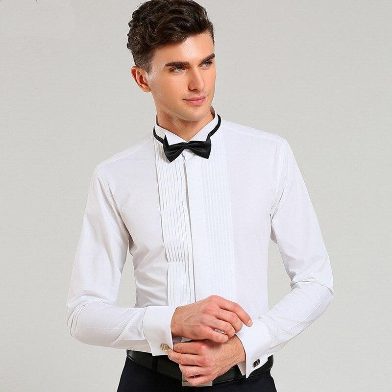 Camisas con puños franceses, camisa de esmoquin informal de manga larga de lujo, Blanco, Negro, Rosa, para fiesta, boda, camisa de vestir para hombre, ropa de moda para hombre