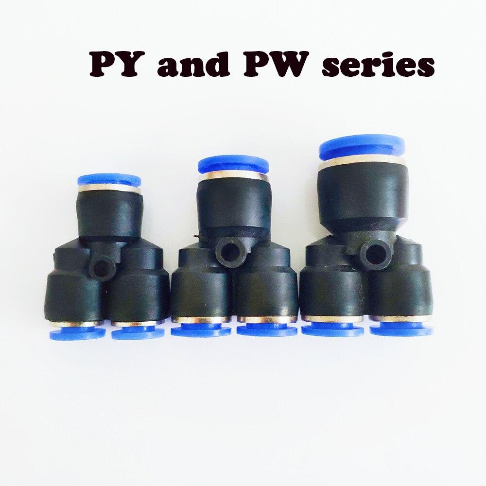 """Złącze pneumatyczne """"Y"""" złącze pneumatyczne złącze wtykowe złącze rurowe OD 4 6 8 10 12 14 16MM armatura pneumatyczna PY PW"""