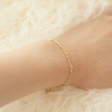 Frauen Minimal Gold Füllen Schmuck Dainty Doppel-Schicht Satellite Kette Zarte Spitze Kette Armbänder