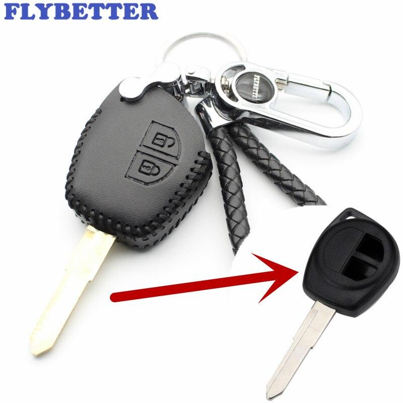 FLYBETTER cuero genuino 2 botón transpondedor caja de llaves para Suzuki Ignis/Alto/SX4/Swift/del coche Vauxhall estilo (B) L2230