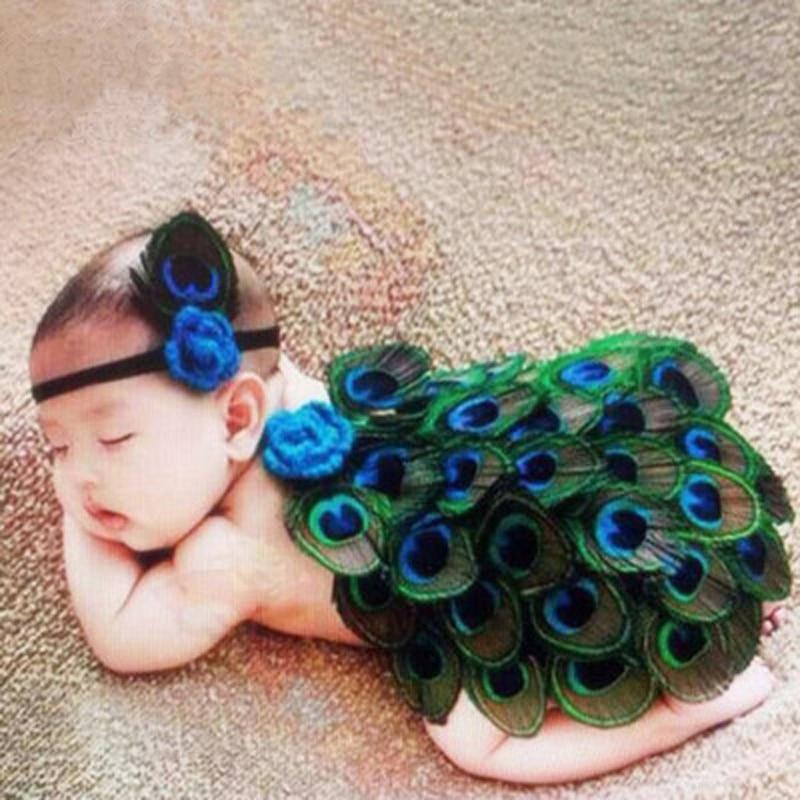 HEIßER! Pfau Kostüm Studio Neugeborenen Fotografie Requisiten Hüte Infantil Tier Fotografia Nette Pfau Baby Kleidung Set Foto Requisiten