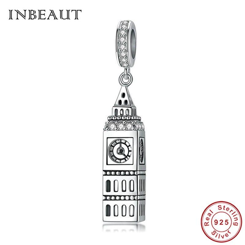 Colgante de plata de ley 925 INBEAUT, colgante Big Ben británico, cuentas con colgante de toalla de Londres, reloj europeo compatible con pulsera Pandora S925, joyería