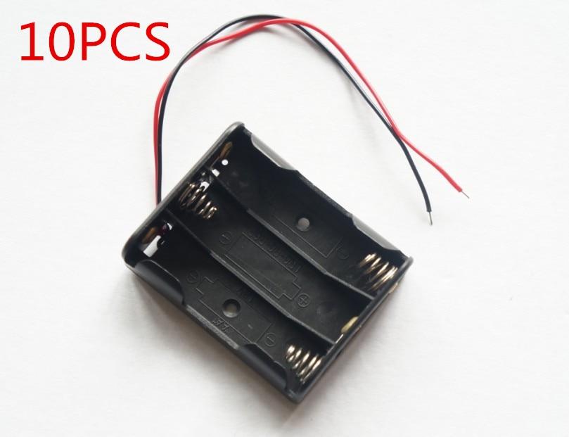 10x New Spring Clip Black Plastic 3 x 1.5V AA Battery Case Slot Holder