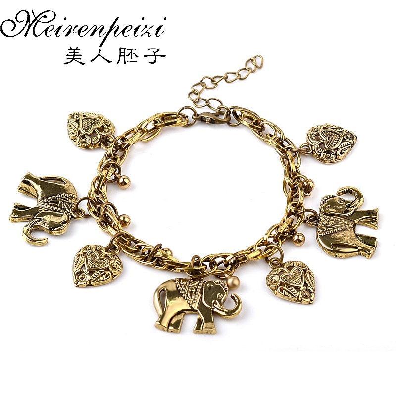New Lucky Animal Heart Charm Vintage Bronze Infinity Bracelet Handmade Bangle For Men Women Gift drop shipping bracelet