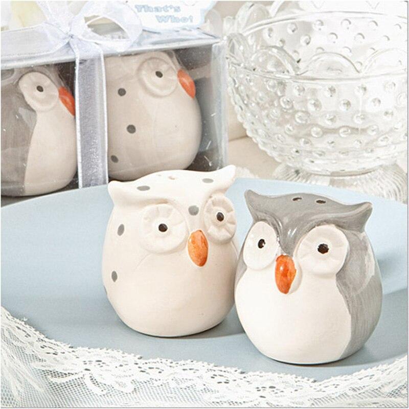 120 piezas = 60 set/lote recuerdos de boda y regalos Baby Shower Color gris y blanco búho cerámica sal y pimienta shaker envío gratis