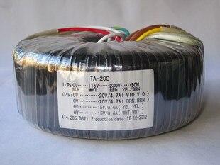 Transformador Toroidal 2*20V 4.7A 2*15V 0.4A de cobre 115 V-230 V transformador personalizado de entrada 200VA para fuente de alimentación