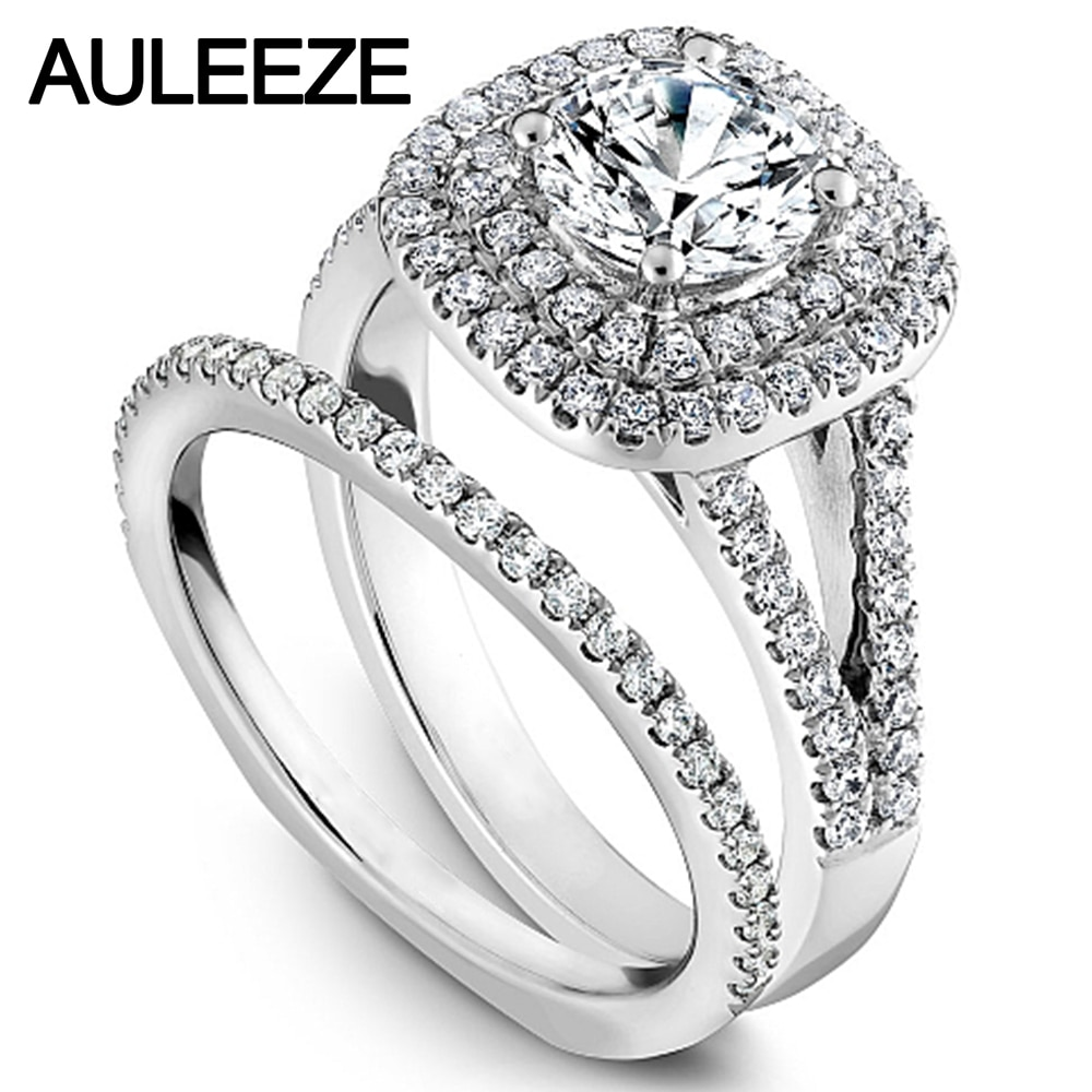 Moderno halo doble boda de moissanites nupcial Juegos 1CT laboratorio crecido diamante anillo sólido 14K oro blanco diamante Jeweley