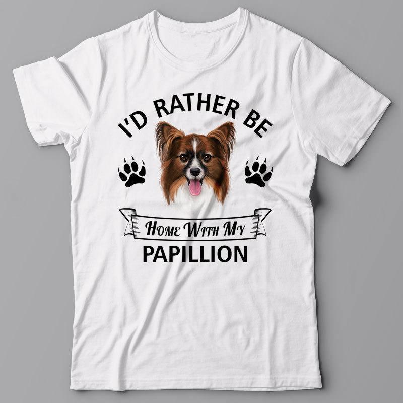 La más nueva camiseta de los hombres de 2019, camiseta de los hombres de la manera-prefería estar en casa con mi regalo de perro de Papillion para perro propietario T camisa