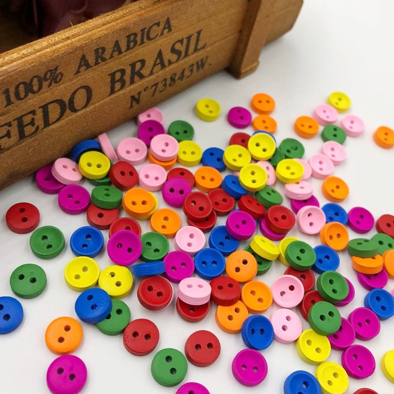 Botones de madera 100 Uds 10mm 2 agujeros artesanía Clothe decoración de costura botón WB536