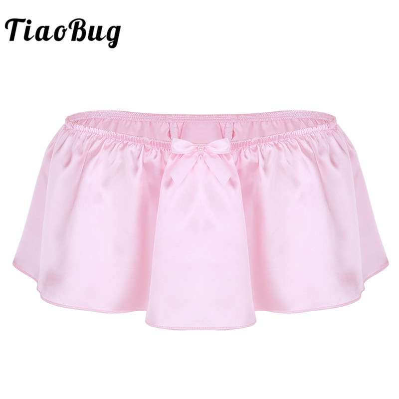 TiaoBug, lencería para Hombre, satén suave brillante, falda Sissy, Tanga Gay, Sexy, ropa interior para Hombre, suspensorio, Bragas, Tanga para Hombre