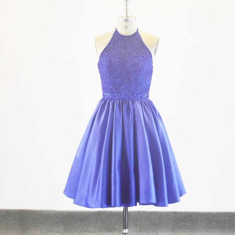 Azul Royal Cetim Curto Mini Halter Pescoço Vestidos de Formatura Para A 8th Meninas Grau