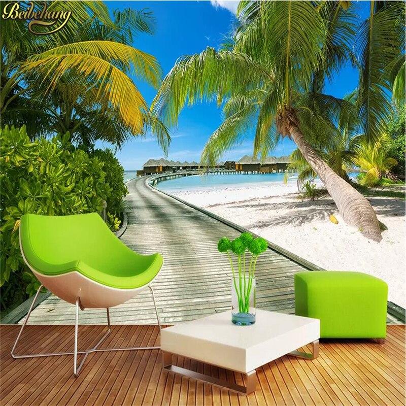 Реалистичные кокосовые деревья beibehang, морские входные Настенные обои для гостиной, обои для фотографий, рулон бумаги