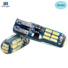 YM e-bright 50X T10 ampoules pour voiture   Flash 168 194 W5W 3014 15 SMD, Signal lumineux à cale de silice, stroboscope blanc, 2 Modes 180 Lumens