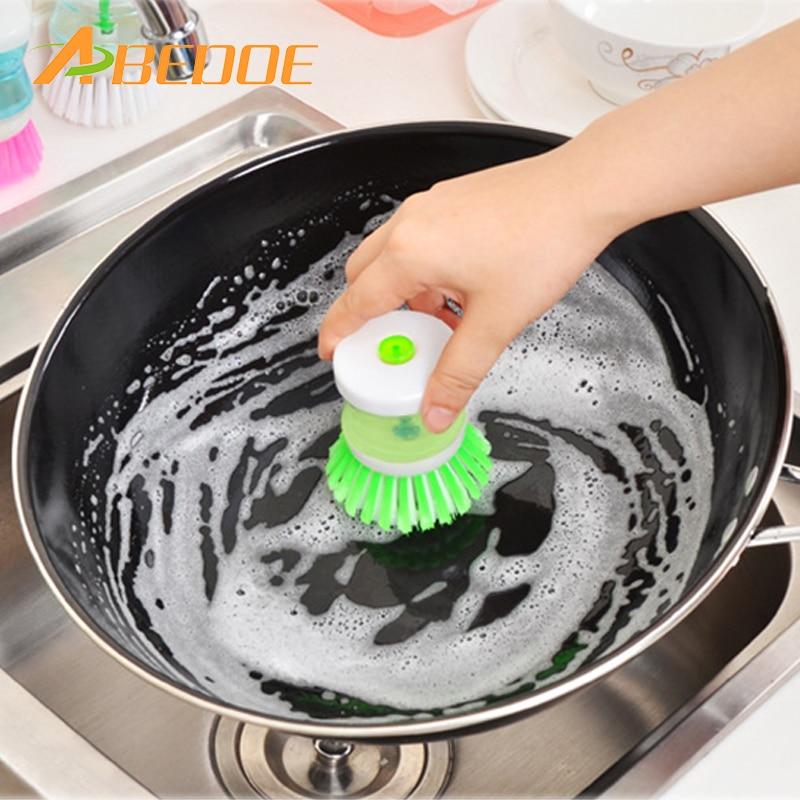 ABEDOE cepillo de limpieza vajilla tazón depurador plástico creativo hidráulico olla cepillo sin bacterias residuos Pan cepillo cocina Gadget