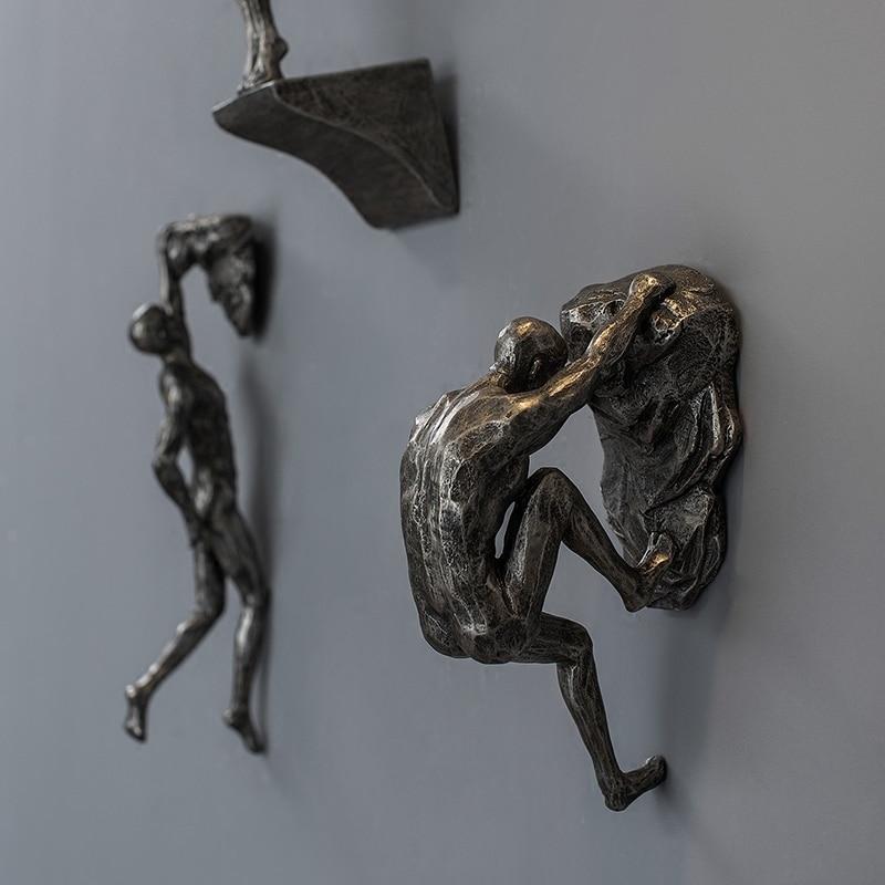 Criativo retro escalada figuras resina escultura bar restaurante loja decoração da parede pingente sala de estar parede estátuas
