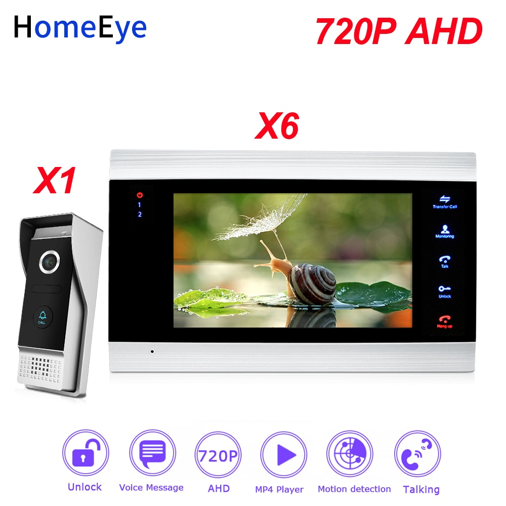 HomeEye 720P AHD Video Door Phone Video Intercom Home Access Control System 1-6 Motion Detection Security Alarm DoorBell Speaker