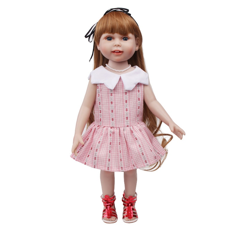 Doll clothes cute doll pink dress toy accessories fit 18 inch Girl doll and 43 cm baby dolls c561 cute resin bride and bridegroom toy doll