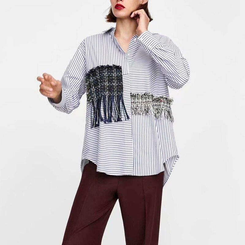 Ruique-قمصان هيب هوب غير رسمية فضفاضة للنساء ، قمصان مخططة بأكمام طويلة بأزرار ، ملابس الشارع ، موضة 2018