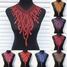 1Pc Phoenix Venise sukienka z koronki aplikacja Motif bluzka szycia wykończenia do dekoltu DIY kostium z kołnierzem akcesoria dekoracyjne