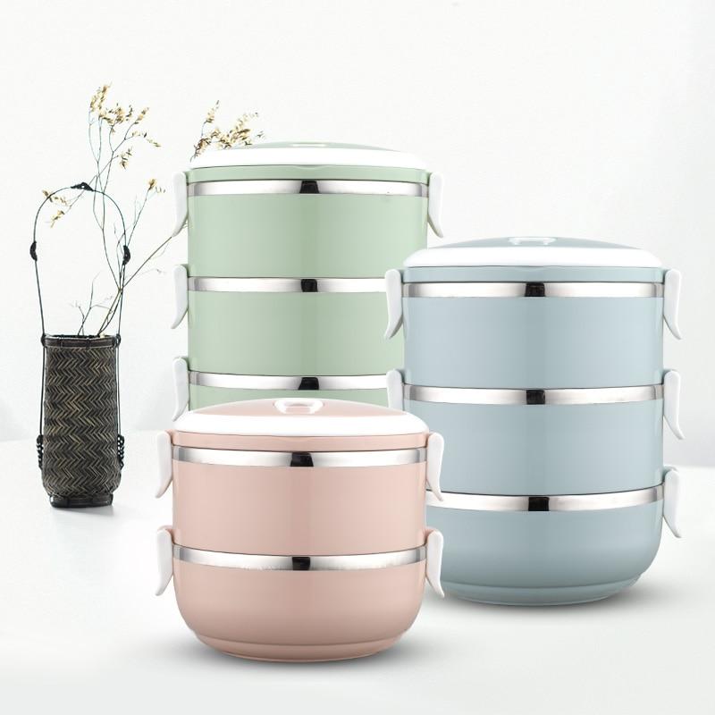 Fiambrera de acero inoxidable portátil colorida con diseño nórdico Natural, caja combinada Bento para aislamiento térmico de alimentos