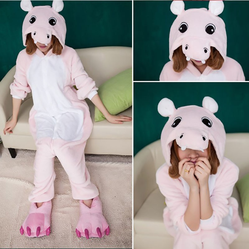 Cute pink Hippo animal Pajamas girls clothes unisex adults flannel Onesies Sleepwear robe cartoon pijamas Cosplay Costumes