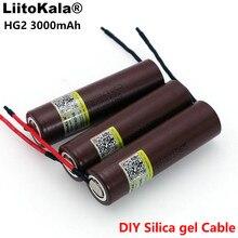 6 шт./лот Liitokala Новый HG2 18650 3000mAh аккумулятор 18650HG2 3,6 V разрядка 20A, выделенные батареи + DIY Силикагель кабель