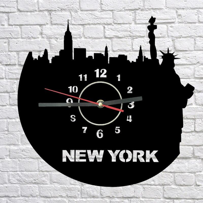 Reloj de pared de New York Sightseeings, corte láser hecho a mano, reloj de tiempo plexiglás, decoración de habitación, reloj Acrílico