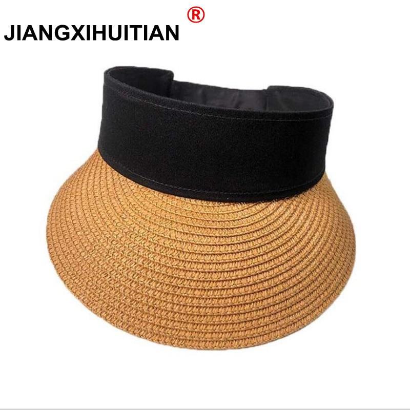 2018 Spring Summer New Big Wide Brim Straw Sun Visors hat Women/Gilr Fashion Beach Empty Top Caps 4 Solid Colors