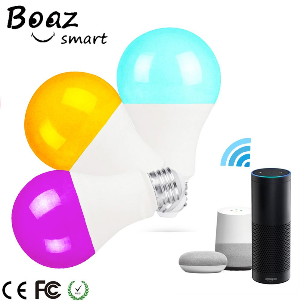Boaz E27 7W Luz De Controle Wi-fi Wi-fi Inteligente Lâmpada Luz Lâmpada de Controle de Voz Inteligente Alexa Echo Inicial do Google IFTTT tuya Inteligente 3pcs