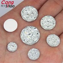 Cong Shao pierres et cristaux ronds   10/12/14/16/18/20/25/30mm, dos plat en résine, strass appliqués bricolage, perles pour robe de mariée WC582